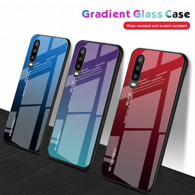 勾配強化ガラス電話ケース Huawei 社メイト 30 プロ名誉 8X P30 Lite P20 1080P 20 スマートプラスノヴァ 3i 3e 3 カバーハウジング Coque