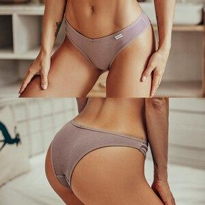 FINETOO хлопок Бразильяно Для женщин пикантные V с высокой талией Стринги Нижнее белье Женские Трусы-стринги трусы M-XL леди бикини трусики 3 шт./компл.