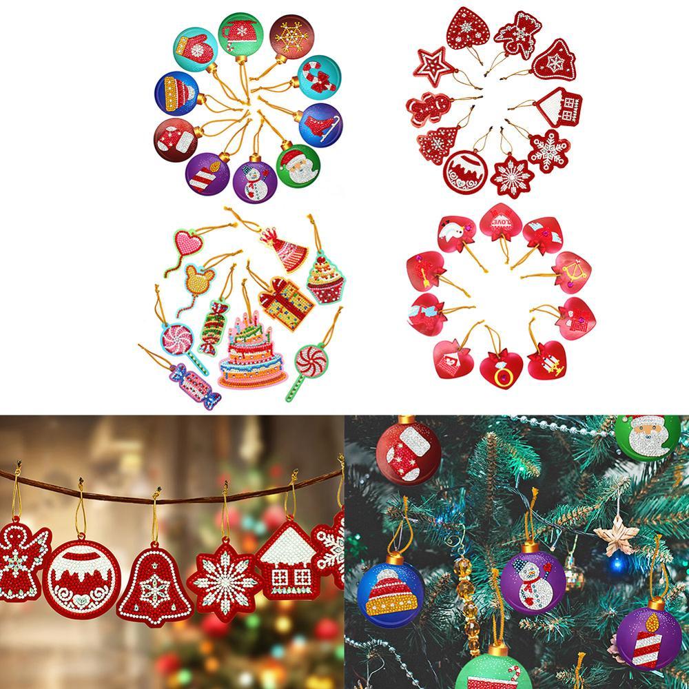 10 шт. DIY бриллиантовый рисунок Рождество дерево Подвеска полная дрель специальная форма Рождественская Алмазная вышивка украшения для дома