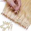 S-noilte 1 г/нитка нано кольца Micro Links наращивание человеческих волос Micro Bead предварительно скрепленные 16-24 дюйма 50 шт Прямые Натуральные блонд