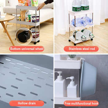 2/3/4 Tier Slide Out Storage Cart Mobile Shelving Unit Rolling Bathroom Carts with Handle for Kitchen Laundry Room Narrow Places