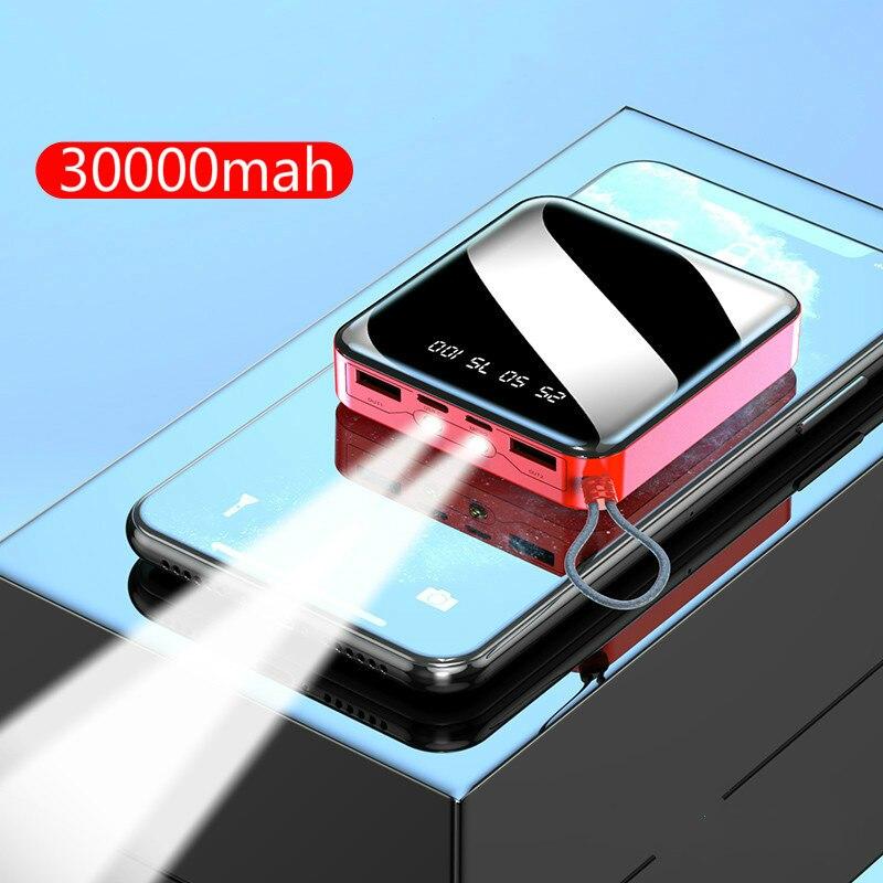 30000 мАч Внешний аккумулятор для iPhone7 XiaomiMi мини внешний аккумулятор зарядное устройство двойной Usb порт внешний аккумулятор портативный