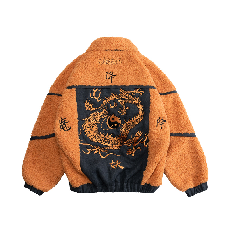 Wookong 2019 Winter New Arrival Men's Coat Turkish Velvet Denim Jacket Street Fashion Of Embroidery With Shenlong Possession