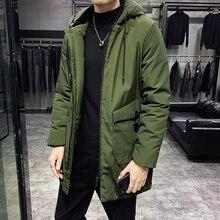 Зимнее пальто, Мужская теплая Толстая Модная парка, Мужская однотонная Повседневная куртка с капюшоном, Мужская свободная длинная хлопковая куртка, большой размер L-8XL