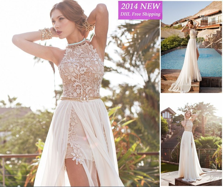 romantic prom gown 2018 high low lace special occasion high neck beaded chiffon party vestido de noiva bridesmaid dresses