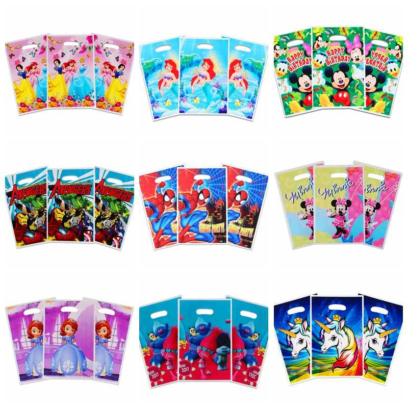 10pcs/lot Cartoon Unicorn/Mermaid/Princess/Spiderman/Avenger/Moana gift bags loot bag wedding birthday party decor candy bag