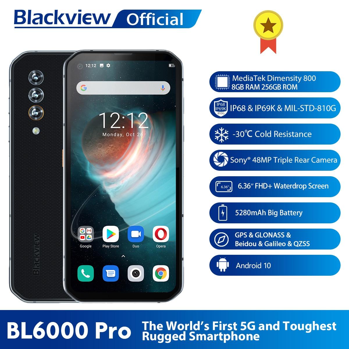 Blackview BL6000 Pro 5G téléphone IP68 étanche 48MP Triple caméra 8GB RAM 256GB ROM 6.36 pouces FHD + Version mondiale 5G téléphone portable