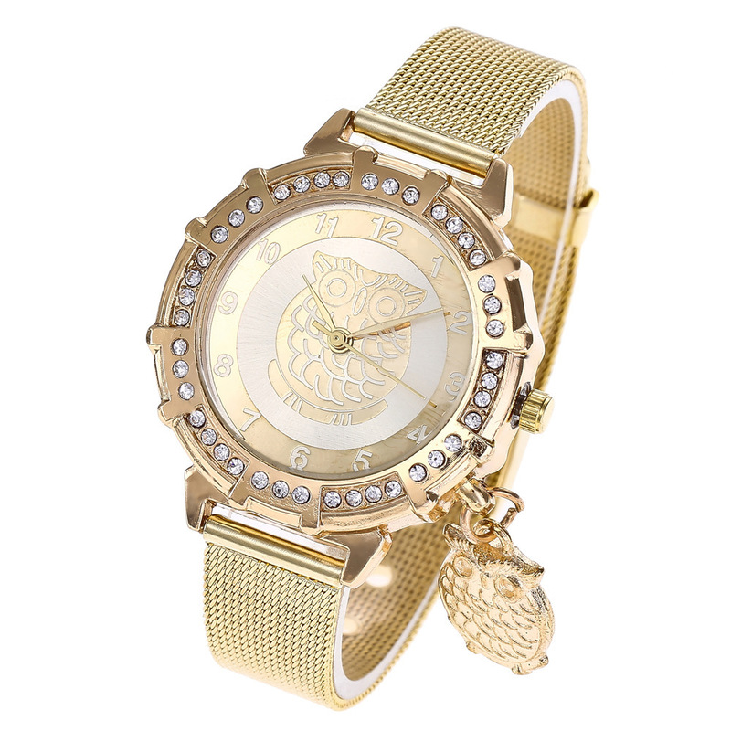 For Fashion Ladies Gold Mesh Belt Watch Big Eagle Pendant Watch Set Auger Alloy Quartz Watch Female Students