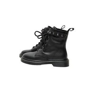 Image 5 - QUTAA 2020 Koe Lederen Ronde Neus Lace Up Herfst Winter Casual Mid Calf Laarzen Vierkante Lage Hak Mode Klinknagel Vrouwen schoenen Size34 42