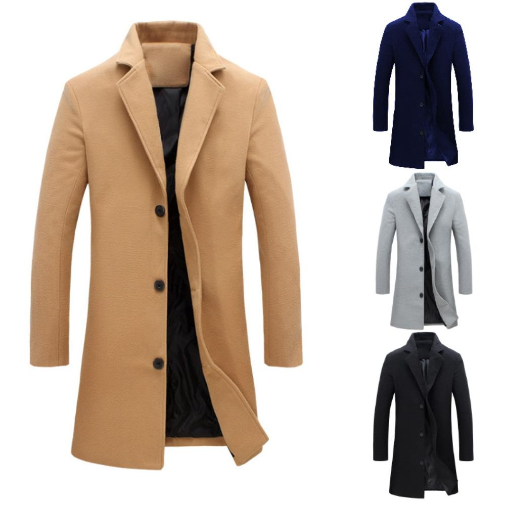 Fashion Men Winter Solid Color Long Woolen Coat Single Breasted Jacket Overcoat Thickened Mens Coats And Jacket Overcoat