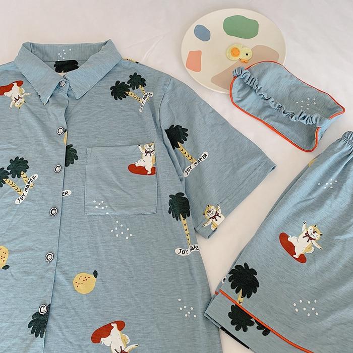 Women Pajama Set Bangtan Boys Kpop Harajuku Cartoon Printed Kawaii Shiba Printed Short Sleeve T Shirt Pants Set Cotton Pyjamas