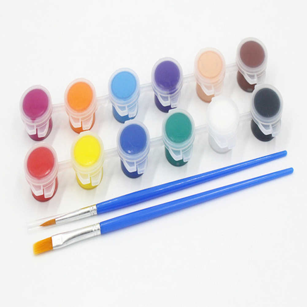 12 Color Art Professional Painted With Pen Watercolor Doodle Gypsum Acrylic DIY Pigment Brush Set