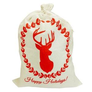 Image 5 - Christmas Gift Bags Sack White Funny Bag Santa Gunny Bags Beautiful pattern Xmas Decoration Father Kids Gift Jute Christmas Bag