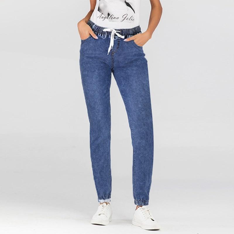 Women's Fashion Jeans Lace-Up Close-Up Lantern Trousers Pants women denim pants long length pencil jean female 2020 new arrivals