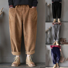 Women Vintage Pockets Corduroy Solid Loose Casual Pants Plus Size(China)