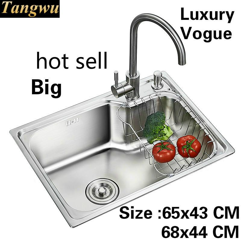Free Shipping Apartment Vogue Big Kitchen Single Trough Sink Wash Vegetables 304 Stainless Steel Luxury 650x430/680x440 MM