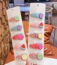 5pcs/set Snap Hair Clips Cute Clip Pins Fruit Animal Hairpins Color Metal Barrette for Baby Children Girls Hair Barrettes цена