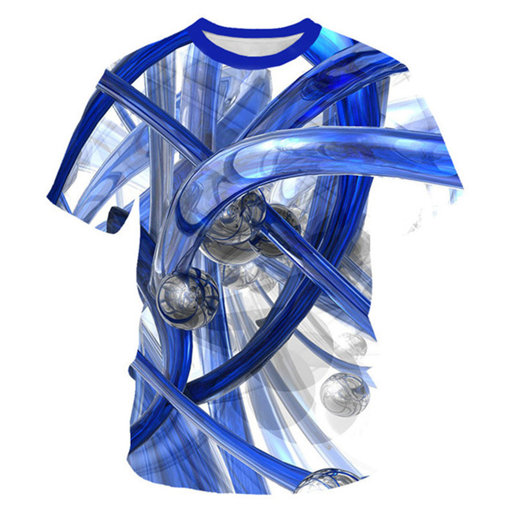 3d Tshirts Mens Blue Duct, 3d Blue Pipeline Printed Tee Shirts Large Intestine Organ Geometry Streatwear Hip Hop Summer T Shirt