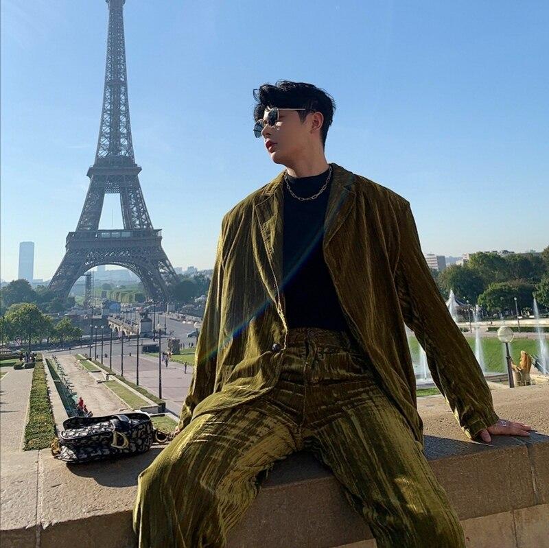 Men 2PCS Suits Sets (jacket+pant) Male Pleated Velvet Vintage Streetwear Hip Hop Loose Casual Suit Coat Blazer Jacket Pant