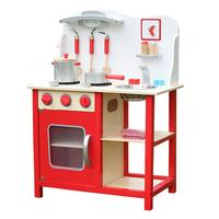 Kids Cooking Pretend Play Set Wood Kitchen Toy With Kitchenware And Clock Red