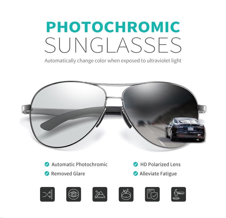 Ha4aa8352aa534d7dbb68af4e7d2373f8W 2020 Aviation Driving Photo chromic Sunglasses Men Polarized Eyewear Glasses Women Day Night Vision