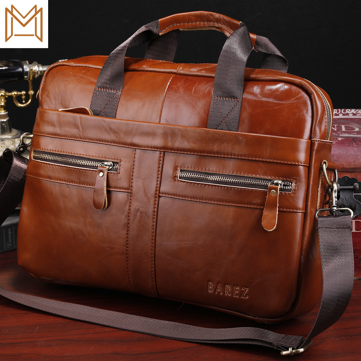 Tide Male Genuine Leather Portable Computer Layer Cowhide Male Package Messenger Single Shoulder Business Affairs