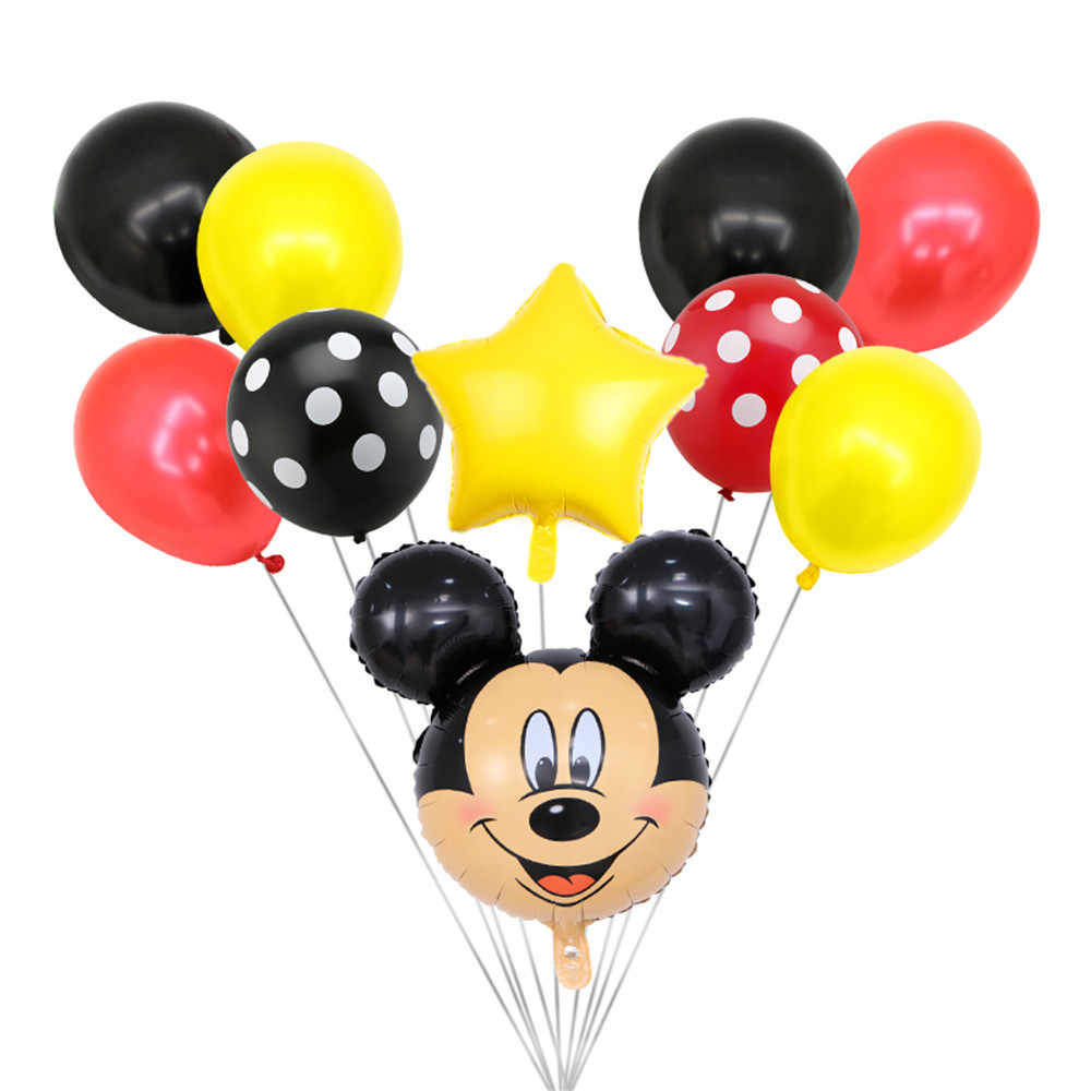 10pcs Happy birthday Mickey Minnie Mouse Foil Balloons 10 inch Wwave Point Latex Balloons Baby Party Decoration Globos Kids Toy