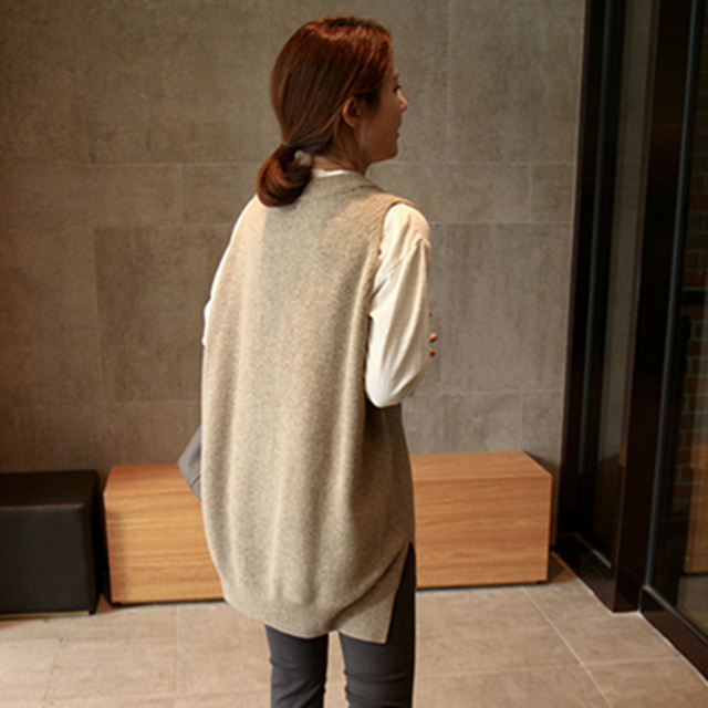 New V neck Girls Pullover vest sweater Autumn Winter Short Knitted Women Sweaters Vest Sleeveless Warm Sweater Casual oversize 3