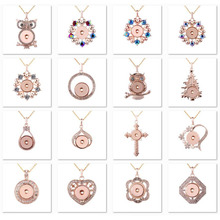 2020 New Snap Button Jewelry Necklaces Rose Gold Rhinestone Heart Snap Button Necklace Pendant Snap Jewelry 18mm Snap Buttons