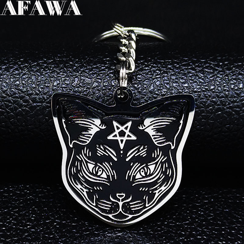 2020 Witchcraft Cat Stainless Steel Pants Chain For Women/Men Black Enamel Chain For Pants Jewelry Llaveros Gato K77769B