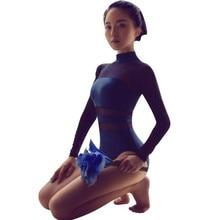 แขนยาวบัลเล่ต์Leotardผู้หญิงผู้ใหญ่ยิมนาสติกLeotard Oneชิ้นคอเต่าดูผ่านตาข่ายLeotad Bodysuitสำหรับเต้นรำ