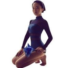 Manga longa ballet collant feminino adulto ginástica collant uma peça gola ver através de malha leotad bodysuit para dança
