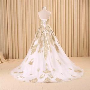 Image 2 - Vestido de noiva real photo di Lusso Una Linea Ricamato In Oro Applique In Rilievo Sweetheart abito da sposa madre della sposa abiti