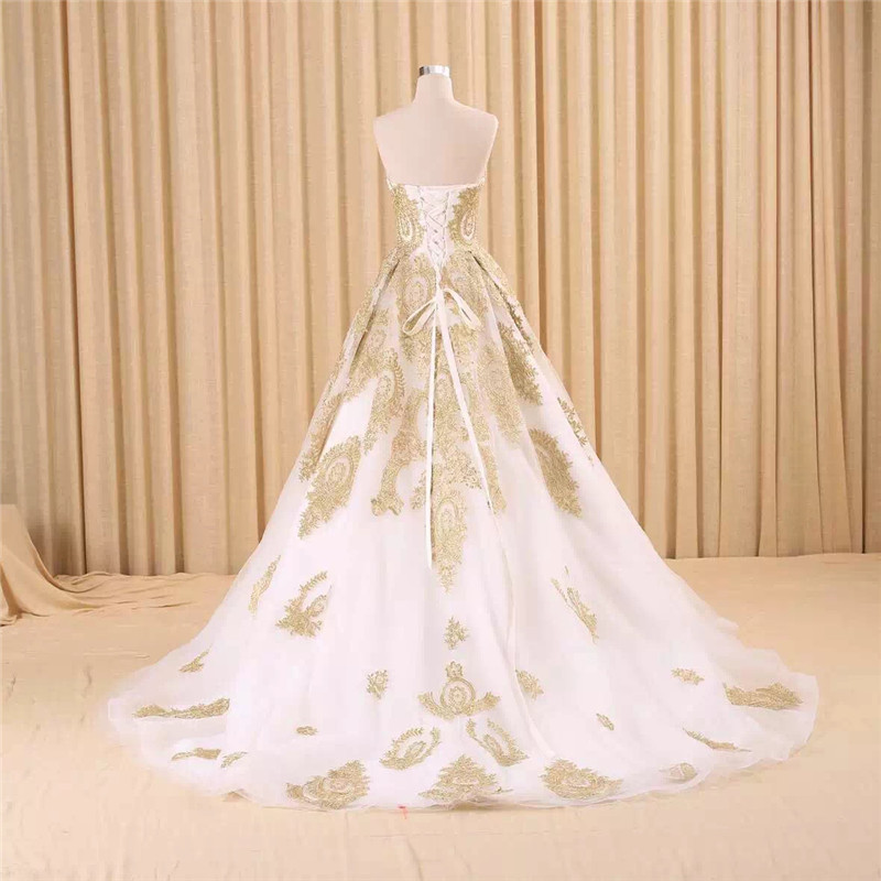 Image 2 - vestido de noiva real photo Luxury A Line Embroidered Gold Applique Beaded Sweetheart bridal gown mother of the bride dressesMother of the Bride Dresses   -