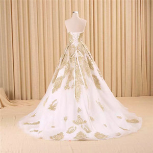 Image 2 - vestido de noiva real photo Luxury A Line Embroidered Gold Applique Beaded Sweetheart bridal gown mother of the bride dresses