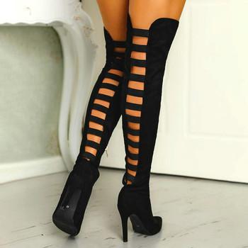 Kobieta czarne seksowne długie buty damskie szpilki wysokie buty damskie ponad buty do kolan jesienne zimowe kobiece modne buty Stretch tanie i dobre opinie LZXGSJ CN (pochodzenie) Nubuk Over-the-knee zipper Stałe wyy2020010202 Cienkie obcasy Podstawowe Szpiczasty nosek Wiosna jesień