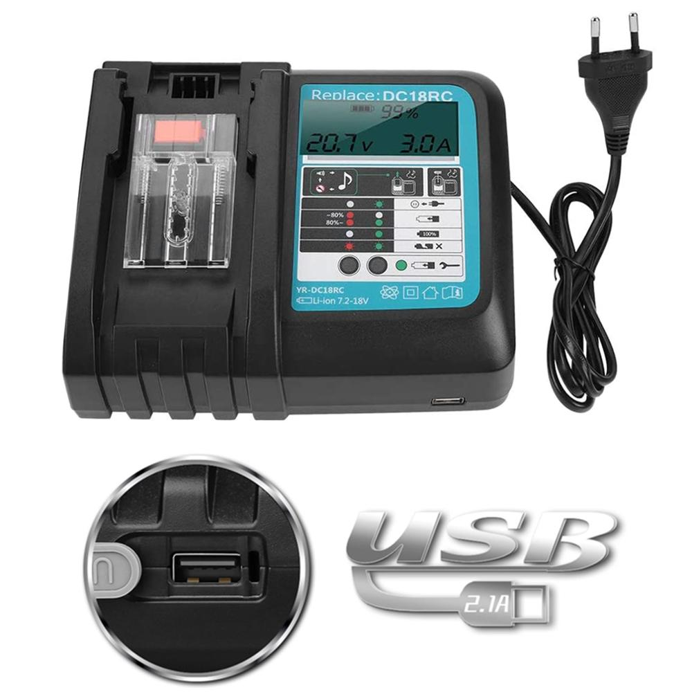 Зарядное устройство Makita для литий-ионных аккумуляторов, 3 А, 14,4 В, 18 в, Bl1830, Bl1430, Dc18Rc, Dc18Ra, электроинструмент Dc18Rct, зарядка ЕС