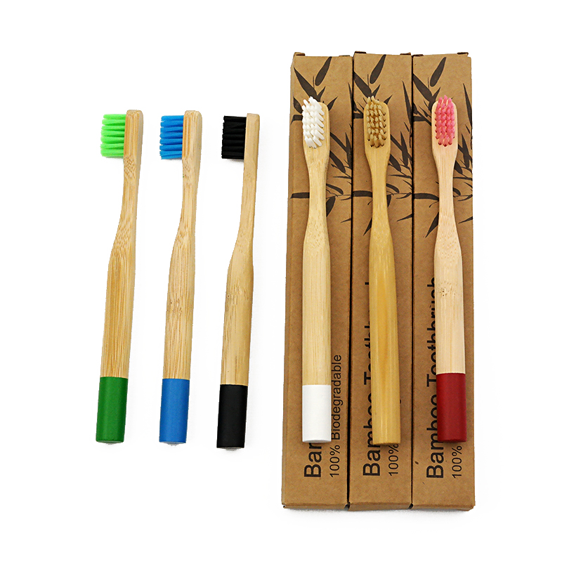 Children Toothbrush Eco-Friendly Rainbow Bamboo Soft Fibre Toothbrush Biodegradable Teeth Brush Solid Bamboo Handle Toothbrush
