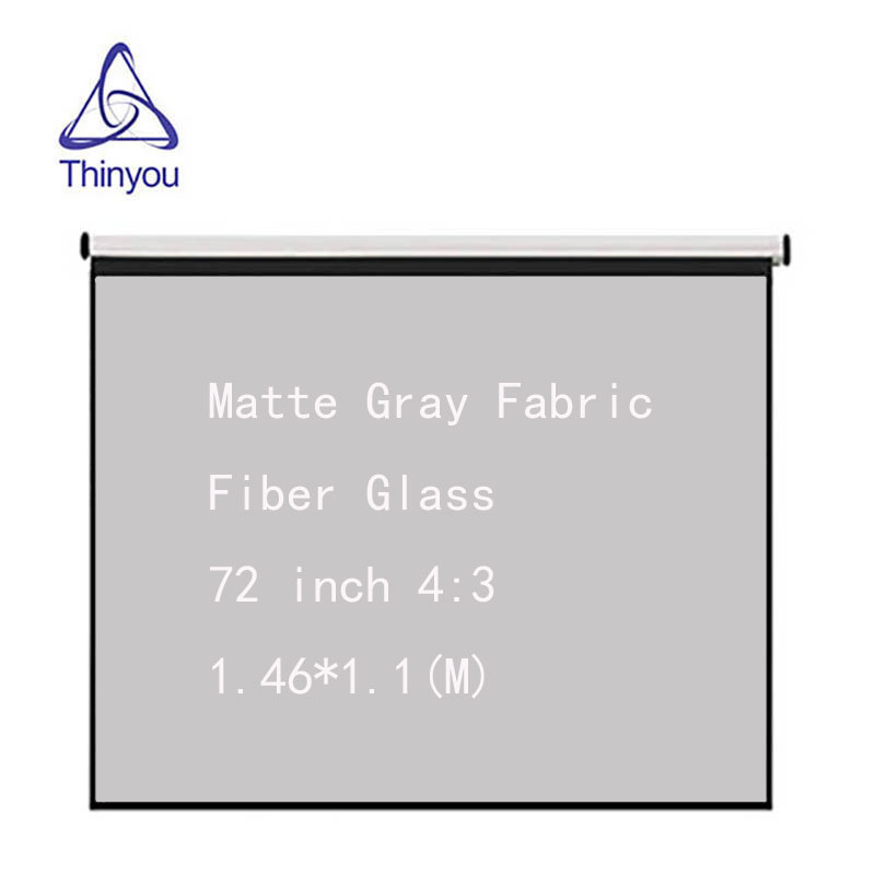 Thinyou Matte Gray Fabric Fiber Glass 72 inch 4:3 Hand Projector Screen Wall Mounted Home Theater For 3D LED DLP Projector