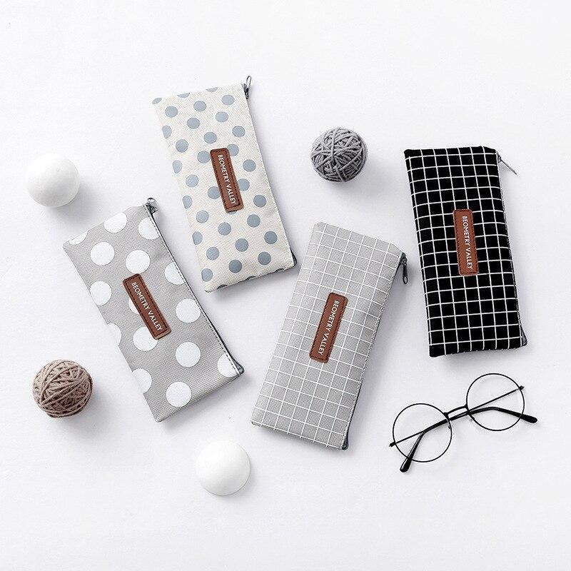 Canvas Pencil Case For School Cute Simple Striped Grid Pencilcase Pen Bag Box Stationery Pouch School Supplies