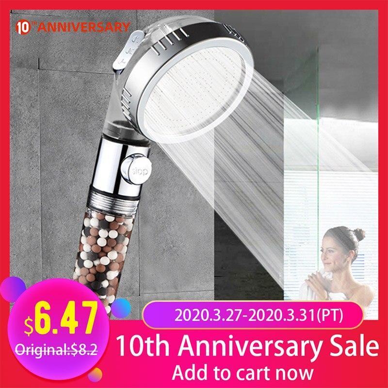 ZhangJi New Arrivel 3-Function SPA Shower Head Stop Switch Bathroom Adjustable Water Saving Spray ABS Anion Filter Showerheads