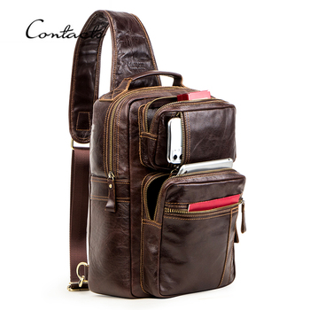 CONTACT'S Multifunction Crossbody Bag for Men Genuine Leather Chest Pack Male Messenger Bags for 13.3 Laptop Casual Chest Bag men bag genuine leather chest bag famous brand chest shoulder messenger bags casual vintage sling back pack of the