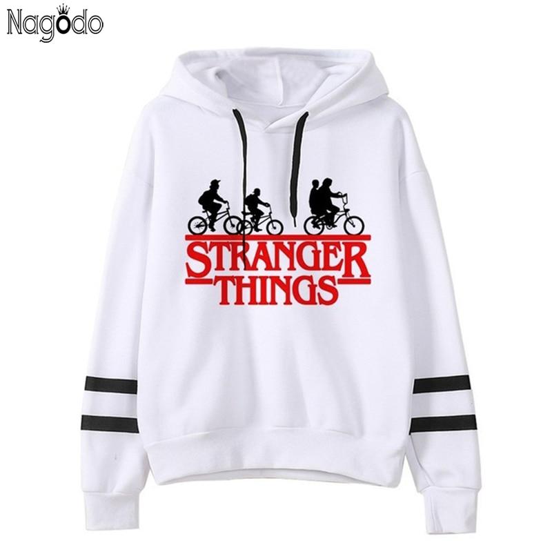 Nagodo Stranger Things Hoodies Winter Bts Letter Print Sweatshirt Women Sudadera Mujer Oversized Fleece Hoodie Couples Clothes