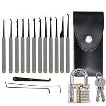 19 pçs transparente visível pick cutaway prática cadeado bloqueio com chave quebrada remover kit gancho extrator ferramenta de chave de serralheiro