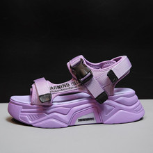 2020 Sport Beach Flat Sandal PurpleWoman Chunky Sandals Platform Summer Designers Fashion Brand Female 5cm Casual Shoes Women(China)