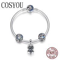 COSYOU 100% 925 Sterling Silver Tropical Fish Ocean Charm Bracelets for Women Moon Star Blue Bracelet & Bangle Jewelry SCB813