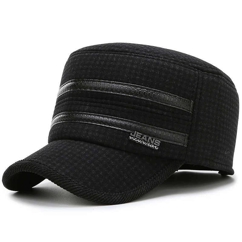 2019 ใหม่ฤดูใบไม้ร่วงฤดูหนาวชาย casual กีฬาหมวกแบนกลาง earmuffs หมวกอบอุ่น