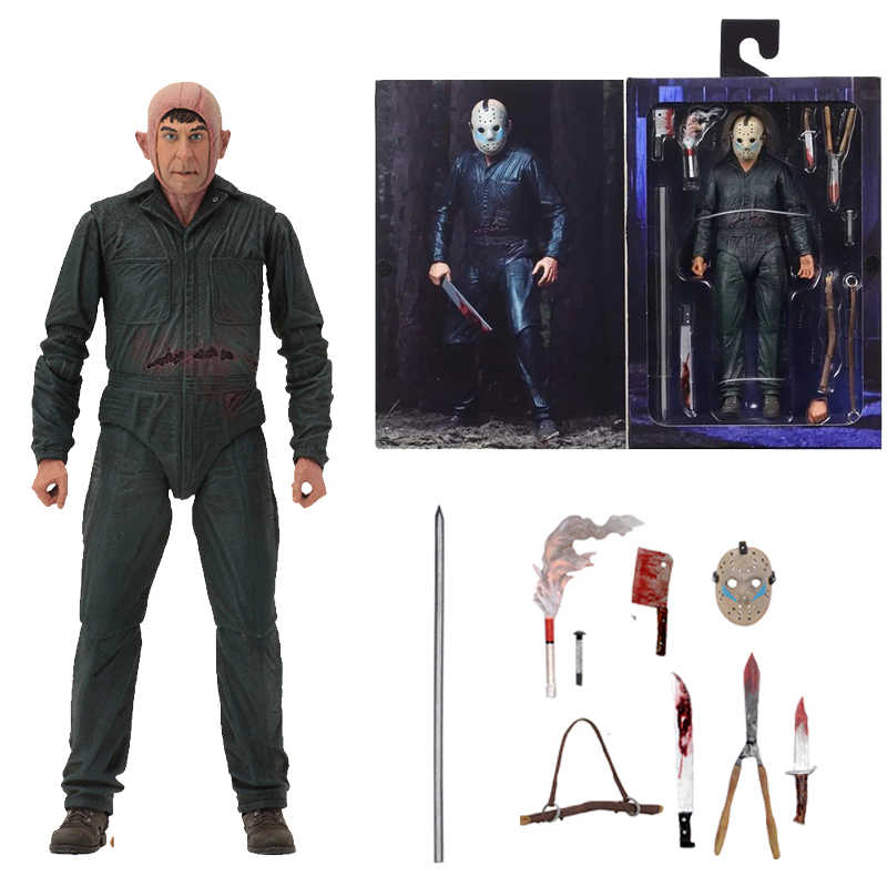 Com LED Original NECA Friday the 13th Jason Parte Final 5 Roy Queimaduras Action Figure Modelo Toy Boneca Presente