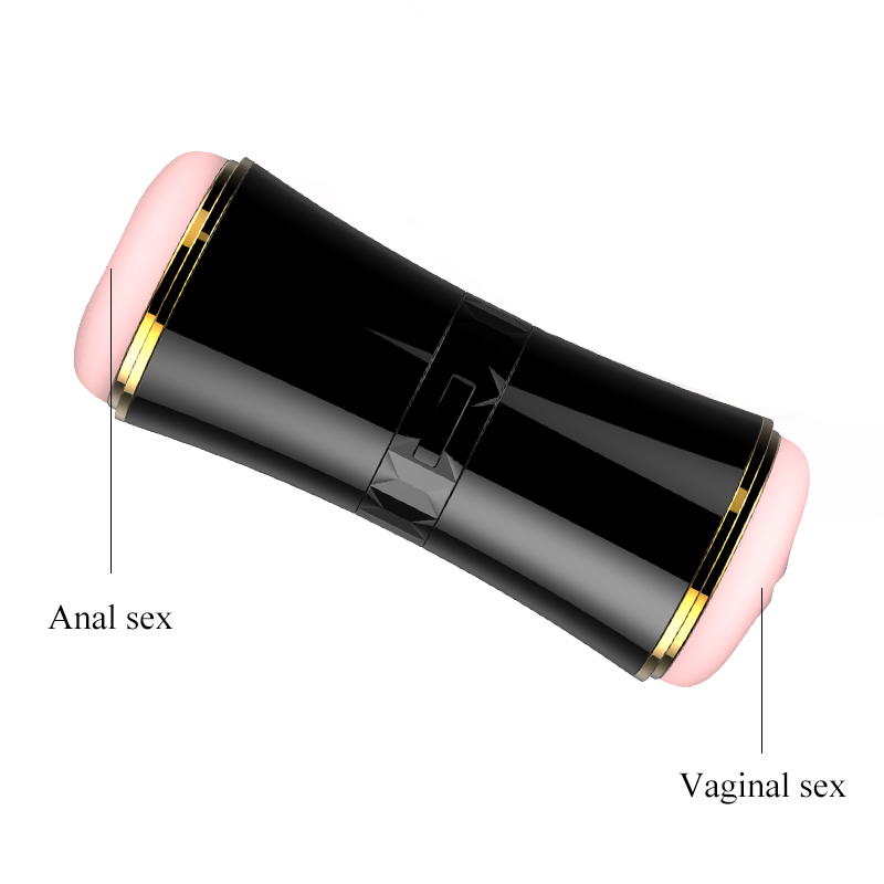 Double Hole Channel Artificial Vagina Male Masturbator Real Pussy Portable 3D Oral Sex Toy for Men Deep Anal and Vaginal