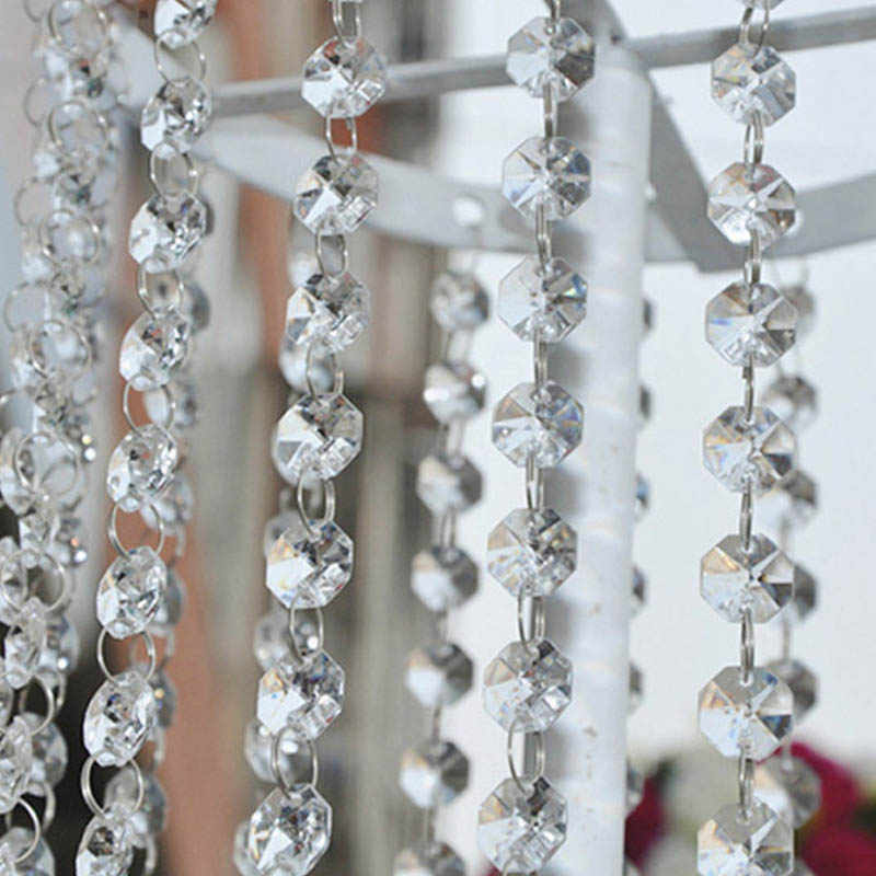 1M Beads Strand Beads Curtains Multifunction Door Festive Party Accessories Wedding Party Decoration Octagonal Beads Garland